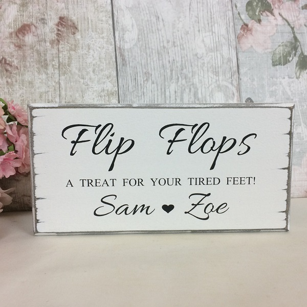 b4f234674985b8 Flip Flops Wedding Dancing Shoes Personalised Sign