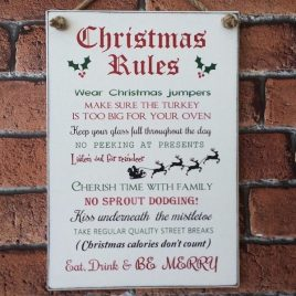 Christmas Rules Shabby Chic Sign