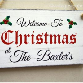 christmas welcome sign personalised