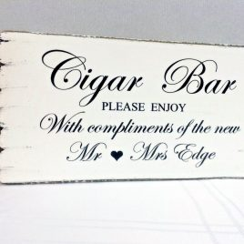 cigar bar werdding table sign