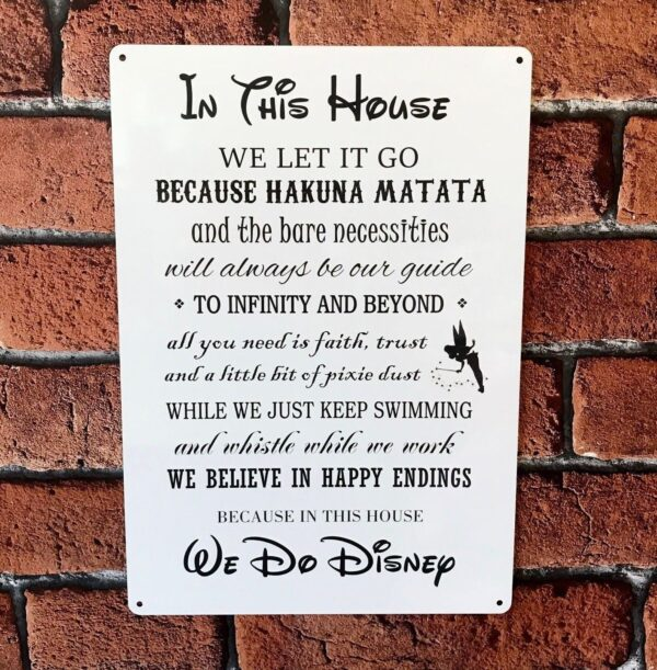 Disney quotes metal sign