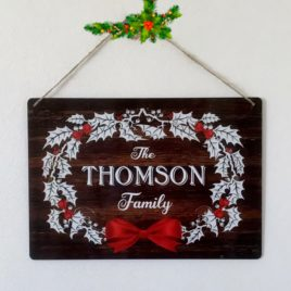 Holly-wreath christmas-sign-personalised
