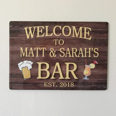 Bar sign personalised metal