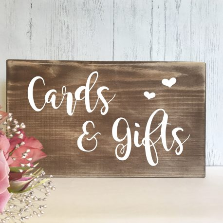 cards & gifts rustic wedding sign
