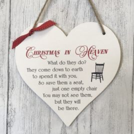 Christmas remembrance wooden heart sign