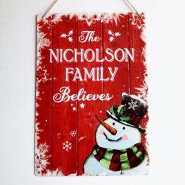 Family believes metal sign featuring snowman