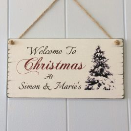 Christmas Sign Featuring Christmas Tree Personalised