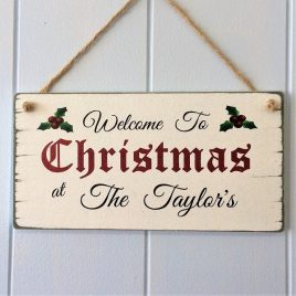 Christmas Sign Vintage Wooden Personalised Plaque