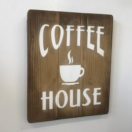 Coffee House Sign Vintage Rustic Wooden Cafe Shop Sign
