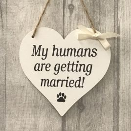 dog wedding sign wooden heart