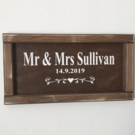 personalised name sign in wooden frame