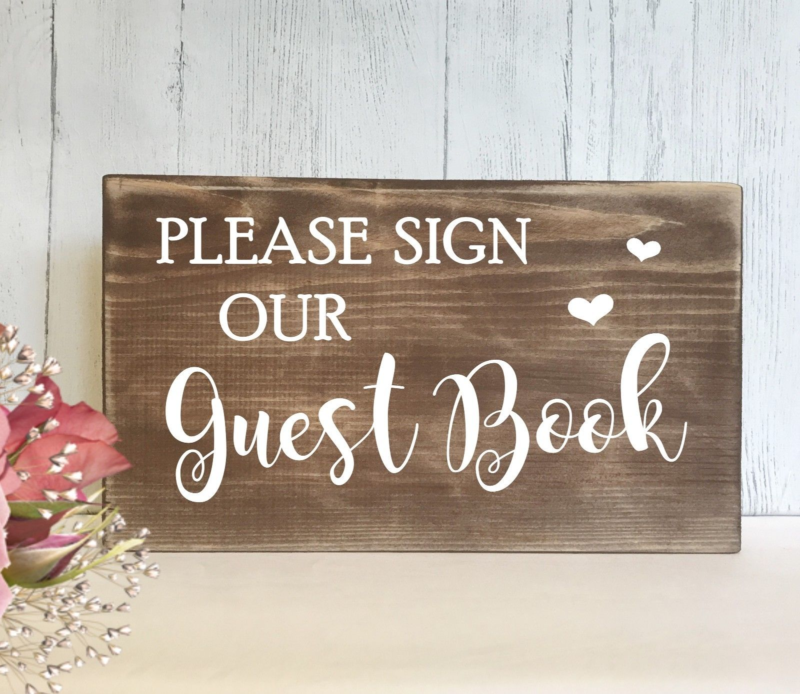 guest book wedding sign rustic wooden free standing table decor