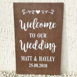 Welcome To Our Wedding Large Rustic Personalised Sign