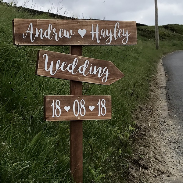 Signpost Wooden Large Rustic Wedding This Way Sign Personalised