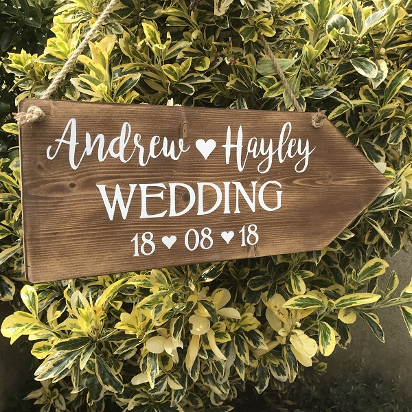 Large wedding sign personalised rustic wooden wedding this way arrow junglespirit Choice Image