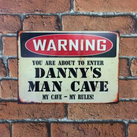Man Cave Vintage Metal Sign Personalised Great Gift Idea