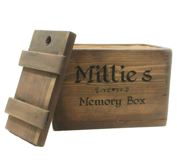 wooden memory box with lid personalised