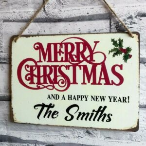 merry christmas sign personalised