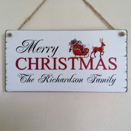 Merry Christmas Sign Personanalised Names Santa And Sleigh