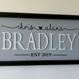 Wooden framed name sign personalised