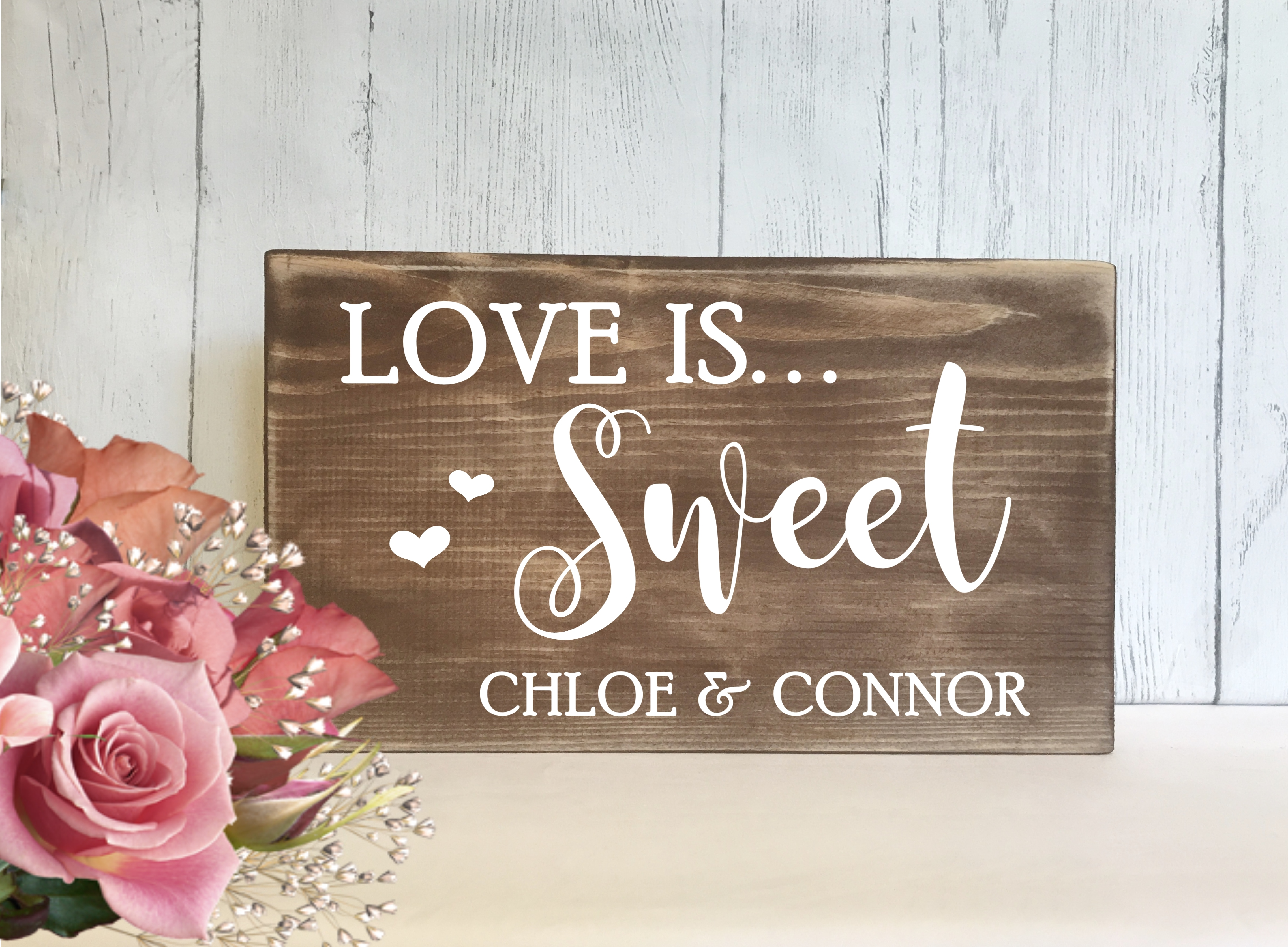 Sweet Table Sign Rustic Love Is Sweet Wedding Candy Bar Candy Cart