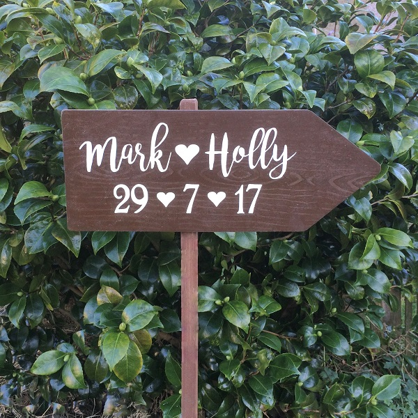 Rustic Wedding This Way Sign Personalised