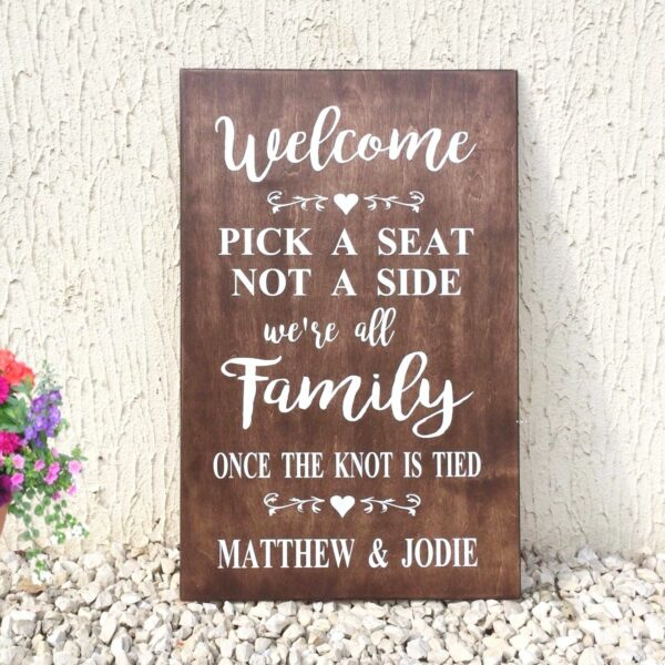 seating plan wedding sign