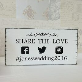 Social Media Personalised Hashtag Wedding Sign
