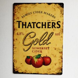 thatchers cider vintage metal advertisement sign