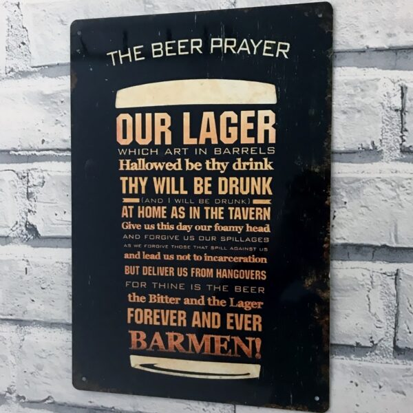Funny bar sign the beer prayer