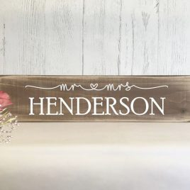 Top Table Rustic Wooden Wedding Sign Personalised Mr & Mrs Sign