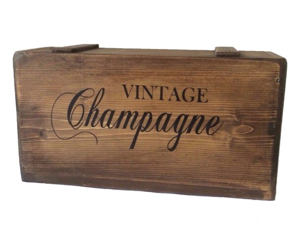 vintage champagne wooden storage box