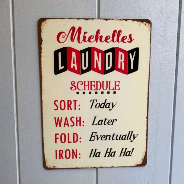 Vintage retro metal laundry sign