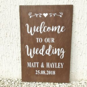 Welcome to our wedding sign personalised