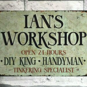 workshop sign personalised metal