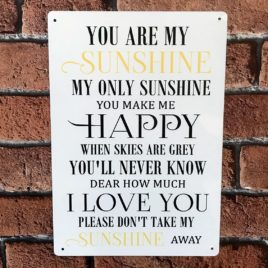 You are my sunshine song lyrics metal sign